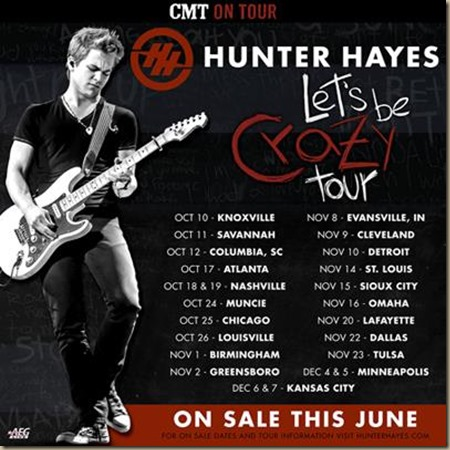 Hunter Hayes headlining CMT on Tour – countryschatter.com