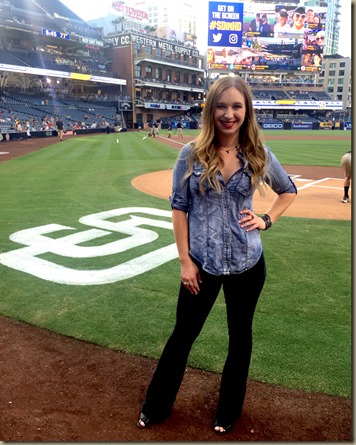 Olivia Lane knocks it our of the park performing anthem at San Diego Padres game