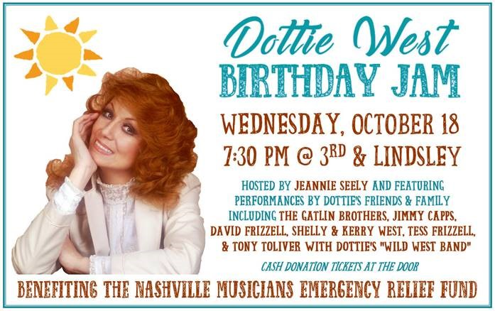 Jeannie Seely to host Dottie West Birthday Jam, Oct. 18, 2017, benefitting Nashville Musicians Emergency Relief Fund